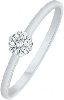 Blumen Ring zus. 0, 06ct W/I1 Weissgold 375 Diamanten Brillanten