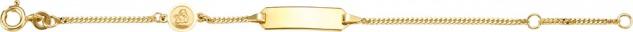 Kinder ID-Armband Gold 585 1, 3mm Flachpanzerarmband Gravurplatte Engel