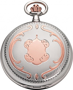 Taschenuhr Bicolor Metall verchromt / rose vergoldet Jean Jacot