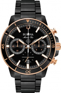 Bulova Herrenuhr 98B302 Marine Star Black Edelstahl bicolor Taucheruhr
