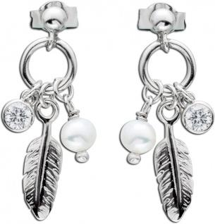 Feder Ohrringe Silber 925 Ohrstecker Perle Ohrhänger