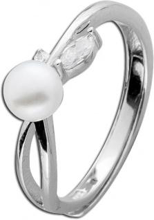 Perlenring weiss Silber Zirkonia Ring Sterling Silber 925