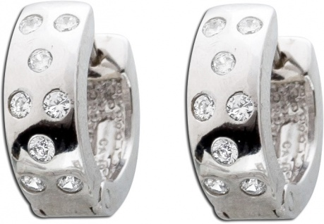 Klappcreolen Silberohrringe Silbercreolen Zirkoniaohrringe Silber 925