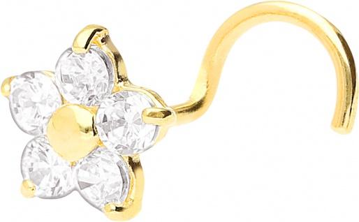 Wildcat Nasenstecker Gold 750 klare Kristalle Blumen Design Stärke