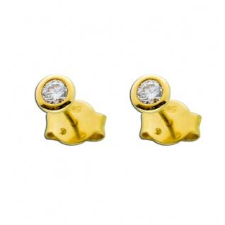 Solitär Ohrringe 0, 25ct TW/IF Diamant Gold 585 Ohrstecker Brillant