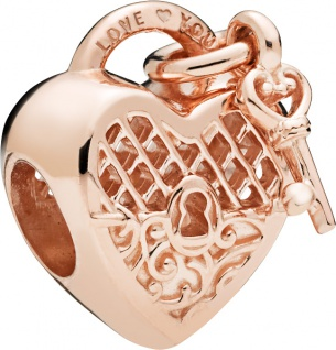 PANDORA Charm 787655 Love You Lock PANDORA Rose Metall Herz Schlüssel