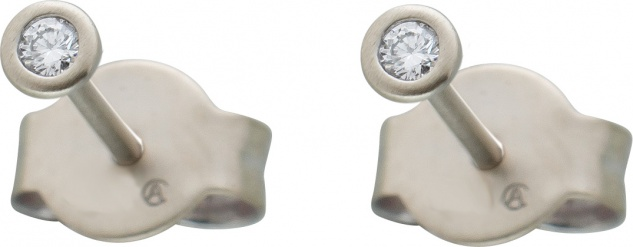 Diamant Ohrstecker 0, 15ct W/SI Platin 950 3, 75mm Zargenfassung