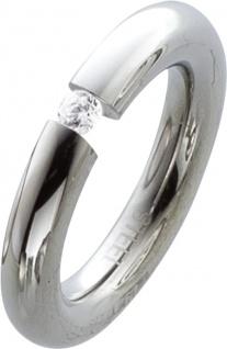 Edelstahl Ring Solitaerring Damenring Ring Edelstahlring mit weissem