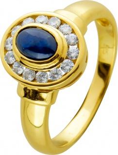 Saphir Brillant Ring blauen Saphir Gelbgold 585 weißen Brillanten
