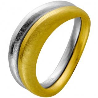 Ring Set Edelstahl einer vergoldet beide mattiert Design by T-Y