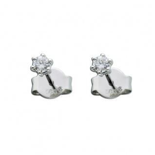 Brillant Diamant Ohrringe Solitär Ohrstecker Weißgold 585 14 Kt 0, 20