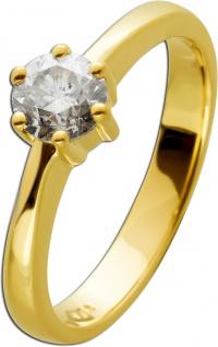 Brillantring Diamantring Solitär 0, 72ct Gelbgold 585 Gr. 17, 5mm, mit