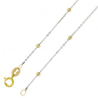 Goldkette Halskette Weissgold Gelbgold 375 0, 9mm Breit UNO A ERRE 42cm