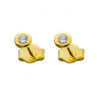 Brillant Ohrstecker 0, 20ct TW/IF Gelbgold 585 14Kt Solitär Ohrringe