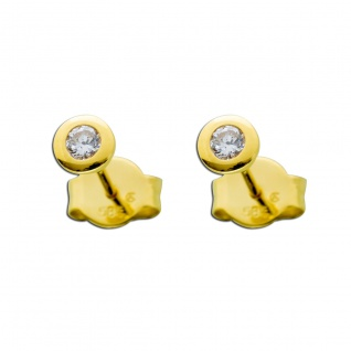 Diamant Brillant Ohrringe Ohrstecker Gold 585 14Kt. 0, 20 Carat TW / LP
