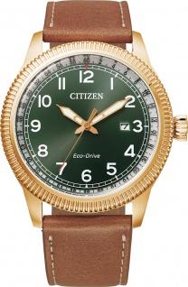 Citizen Herrenuhr BM7483-15X Eco Drive Solar grünes Ziffernblatt
