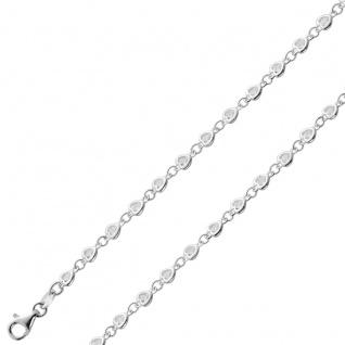Herz Zirkonia Fusskettchen Silber 925 23+5cm