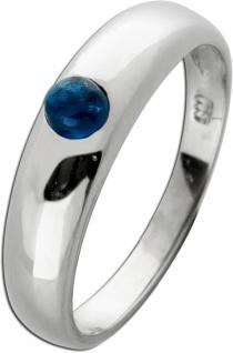 Edelstein Saphir Ring Weissgold 585 blauer runder Saphir Cabochon