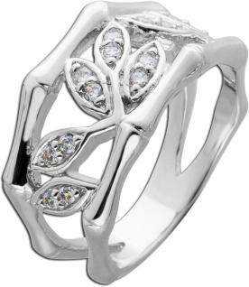 Weißer Zirkonia Ring Blatt Muster Silber 925 Damenring