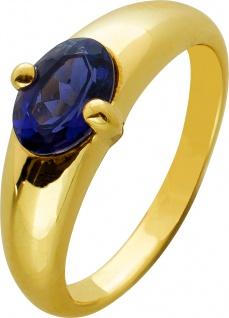 Blauer Safir Edelstein Ring Gelbgold 333 violetter Edelstein massive