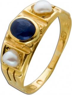 Antiker Saphir Perlen Ring Gelbgold 18 Karat 1 Saphir Edelstein 2
