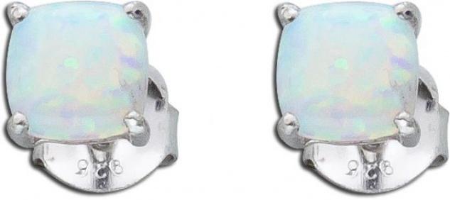 Opal Ohrringe Ohrstecker blau weis Silber 925 synthetisch