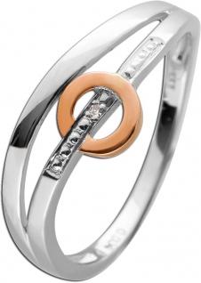 Diamantring Weißgold Roségold 333/- weißen Diamant 0, 004ct W/P1