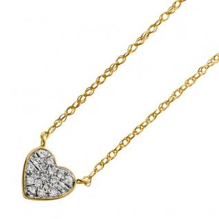 Herzkette Gelbgold 585 mit 18 Diamanten 8/8 W/SI zus.0, 05ct 46cm