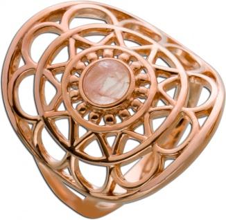 Edelstein Ring Lebensblume Silber 925 rose vergoldet Rosenquarz