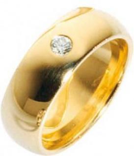 Trauring Gold 585 mit leuchtenden Brillant 0, 12 Karat