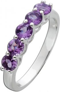 Edelstein Memoire Ring Silber 925 violette Amethyste