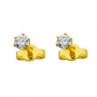 Diamantohrringe Brillant Solitär Ohrstecker Gelbgold 585 14Kt 0, 35