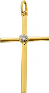 Kreuz Anhänger Gelbgold Weissgold 585/- Brillant 0, 25ct. TW/VSI