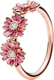 Pandora Garden Ring 188792C01 Pink Daisy Flower Trio Non Stackable