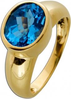 Blautopas Ring Gelbgold 333 Edelstein Ring 5, 6 Gramm Gr. 19mm