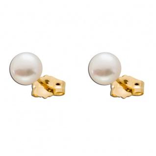 Perlen Ohrringe Gelb Gold 375 zart rosa Süßwasserzuchtperlen