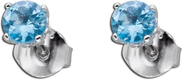 Blautopas Ohrstecker Silber 925 hellblaue Edelsteine