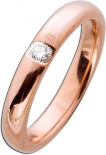 Diamantbandring Rotgold 585/- poliert Brillant-Schliff 0, 10ct