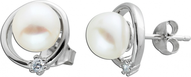 Ohrstecker Süßwasserperlen Silber 925 Zirkonia Ohrringe