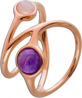 Edelstein Ring Silber 925 rose vergoldet besonderes Design Rosenquarz