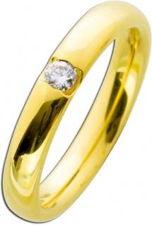 Vorsteckring Gelbgold 585 poliert - Brillant 0, 10ct W/SI Diamantring