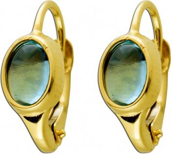 Brisur Ohrschmuck Gelbgold 333 Blautopas Cabochon, 16x7mm