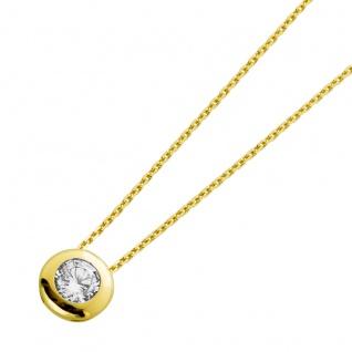Solitär Halskette Collier Diamantlook Gelbgold 333 Zirkonia