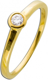 Verlobungsring Gelbgold 585 Brillant Diamant 0, 10ct TW / Lupenrein
