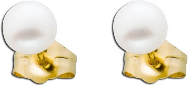 Perlen Ohrstecker weiße Gelb Gold 585 Süßwasserzuchtperlen