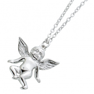 Engel Collier Halskette Silber 925 Ankerkette Engel Anhänger halb