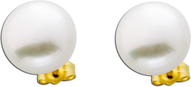 Große Perlenohrringe weiß Gelb Gold 585 Süßwasserzuchtperlen