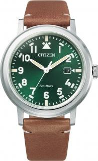 Citizen Herrenuhr AW1620-13X Edelstahl grün weisses Ziffernblatt