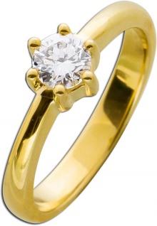 Solitär Ring Verlobungsring Diamant Brillant Gelbgold 585/- 0, 53ct