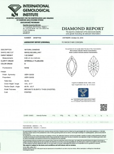 Ungefasster Navette MARQUISE Diamant 1, 02ct River / Lupenrein